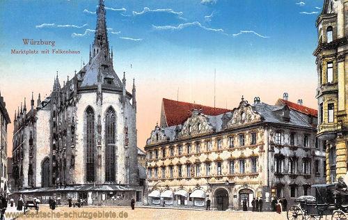 Würzburg, Marktplatz mit Falkenhaus