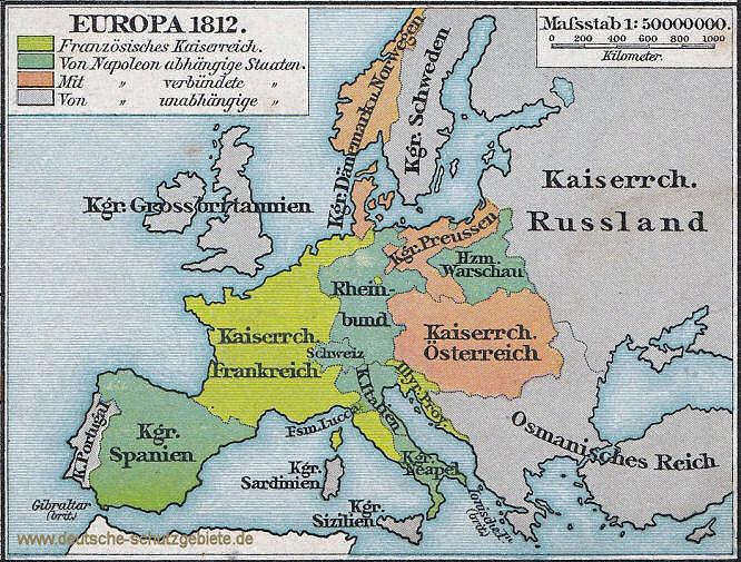 Europa 1812, der Rheinbund nach der Annexion des Nordwestens durch Frankreich