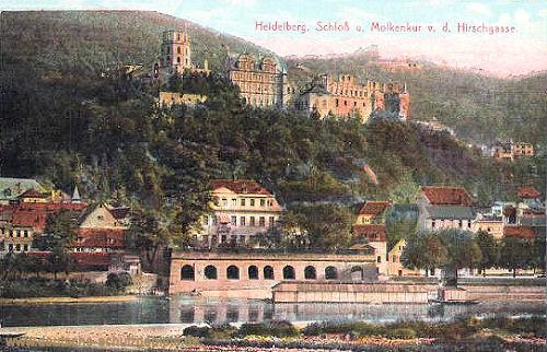 Heidleberg, Schloss und Molkenkur von der Hirschgasse