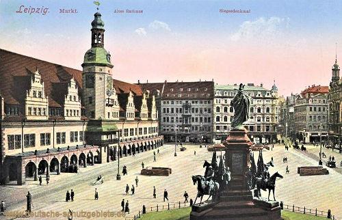 Leipzig, Markt, Altes Rathaus, Siegesdenkmal