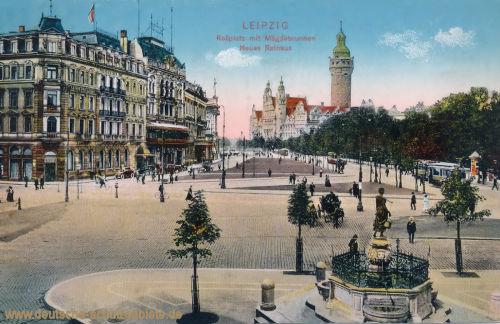 Leipzig, Rossplatz mit Mägdebrunnen, Neues Rathaus