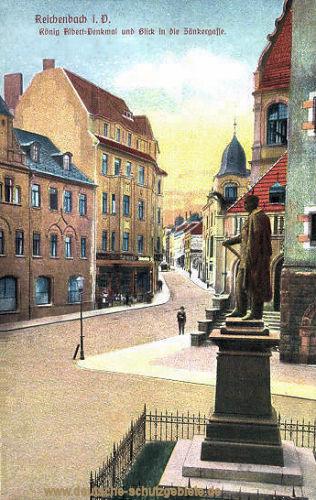 Reichenbach i. V., König Albert-Denkmal und Blick in die Zänkergasse