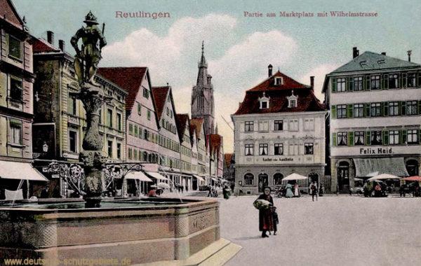 Reutlingen, Partie am Marktplatz mit Wilhelmstraße