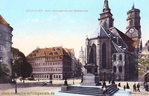 Stuttgart, Alter Schlossplatz mit Stiftskirche