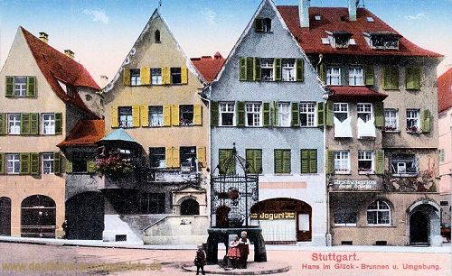 Stuttgart, Hans im Glück-Brunnen und Umgebung