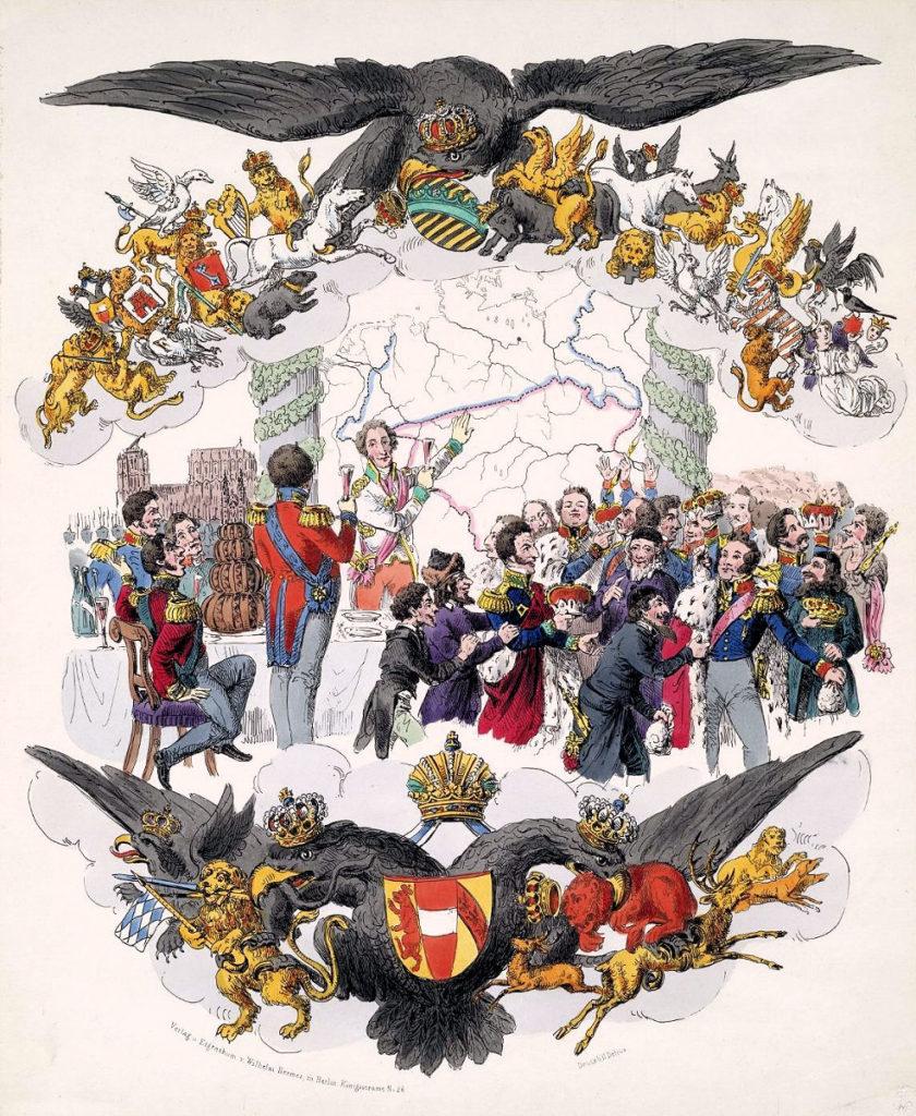 Wiener Kongress 1815, Karikatur, Verlag u. Eigentum v. Wilhelm Hermes in Berlin, Königsstraße N. 26, Druck H. Delius