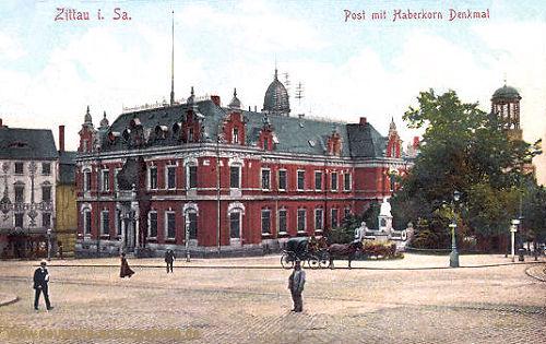 Zittau, Post mit Haberkorn-Denkmal