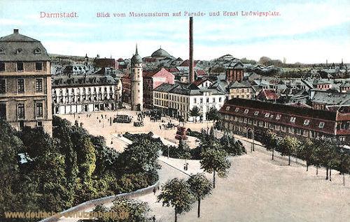 Darmstadt, Blick vom Museumsturm auf Parade- und Ernst Ludwigsplatz