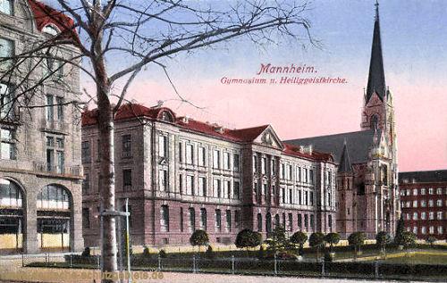 Mannheim, Gymnasium und Heiliggeistkirche