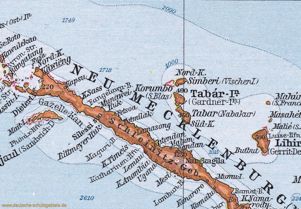 Neumecklenburg-Nord mit der Regierungsstation Kaewieng, 1914