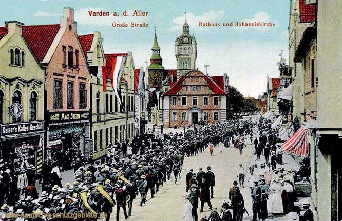 Verden an der Aller, Große Straße, Rathaus und Johanniskirche