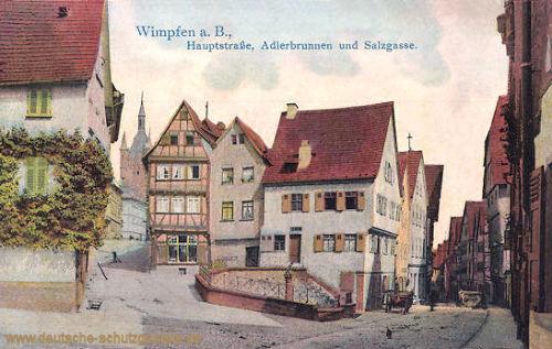 Wimpfen, Hauptstraße, Adlerbrunnen und Salzgasse