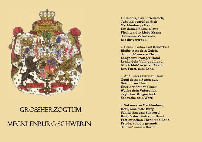 Großherzogtum Mecklenburg-Schwerin, Hymne