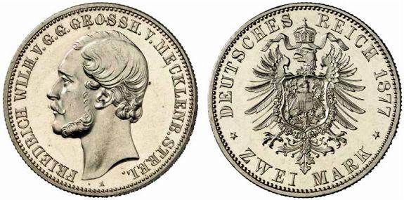 Großherzogtum Mecklenburg-Strelitz 2 Mark, 1877