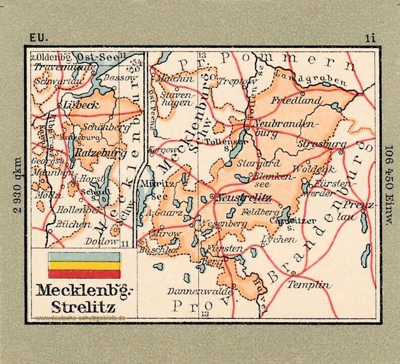 Mecklenburg-Strelitz, Landkarte