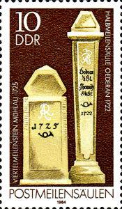 Postmeilensäulen, 10 Pfennig, DDR 1984