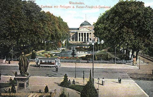 Wiesbaden, Curhaus mit Anlagen & Kaiser-Friedrich-Denkmal