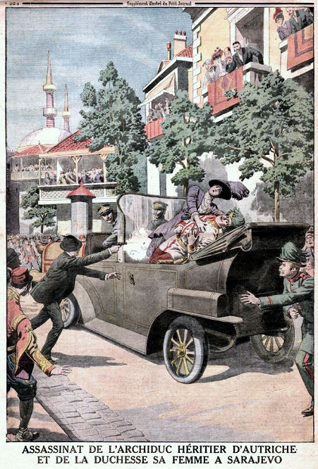 Das Attentat auf Erzherzog Franz Ferdinand und dessen Frau in Sarajevo. Le Petit Journal 1914