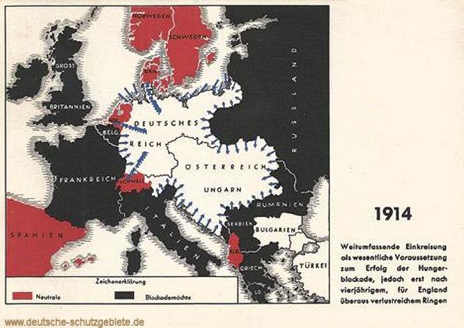 Einkreisung der Mittelmächte 1914