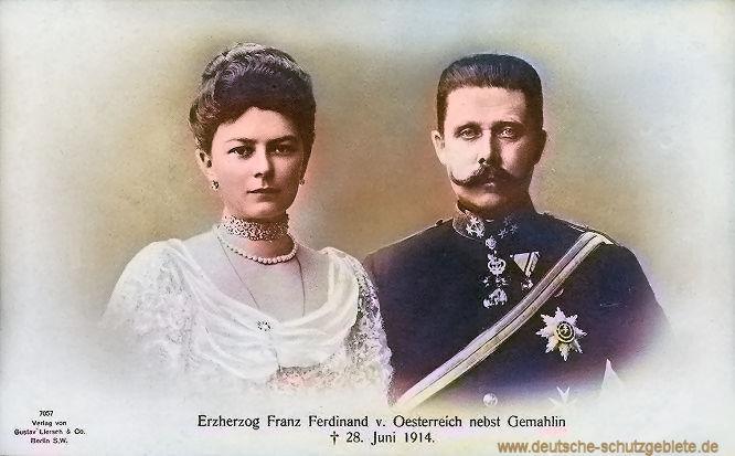 Erzherzog Franz Ferdinand von Österreich nebst Gemahlin † 28. Juni 1914