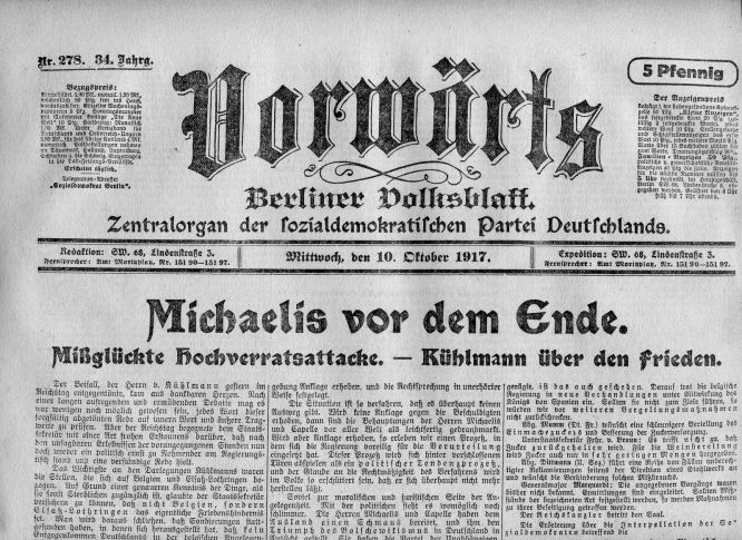 """Michaelis vor dem Ende"" Vorwärts 10. Oktober 1917"