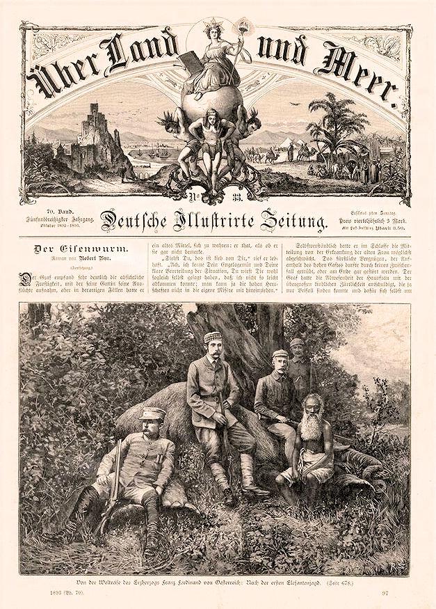 """Von der Weltreise des Erzherzogs Franz Ferdinand: Nach der ersten Elefantenjagt. """"Über Land und Meer. Deutsche Illustrierte Zeitung"""" 1893"""