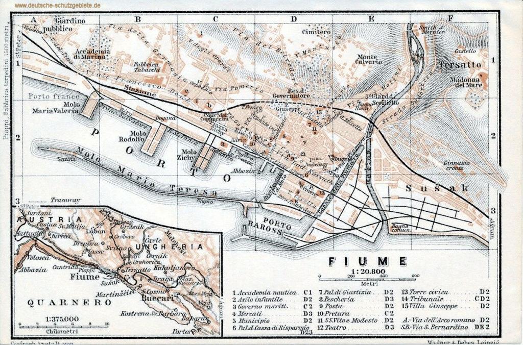Fiume - Rijeka, Stadtplan 1911