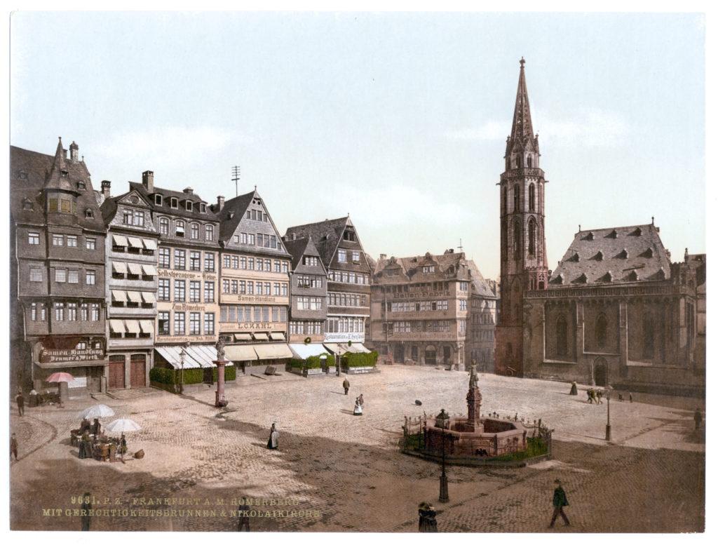 Frankfurt a. M. Römerberg mit Gerechtigkeitsbrunnen & Nikolaikirche