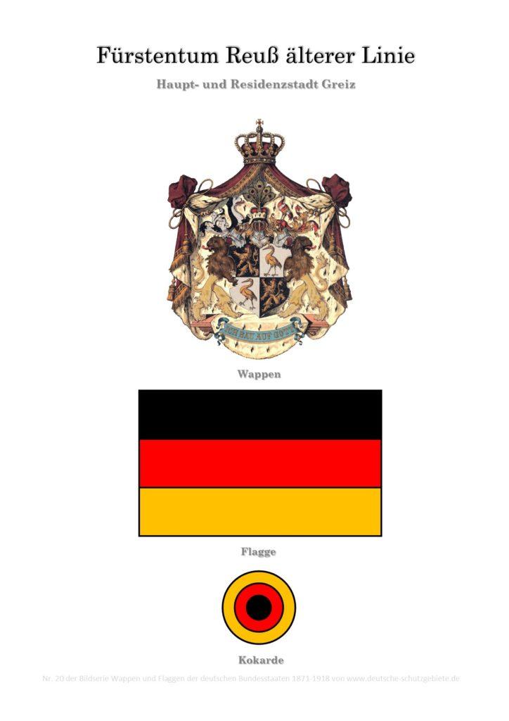 Fürstentum Reuß älterer Linie, Wappen, Flagge und Kokarde