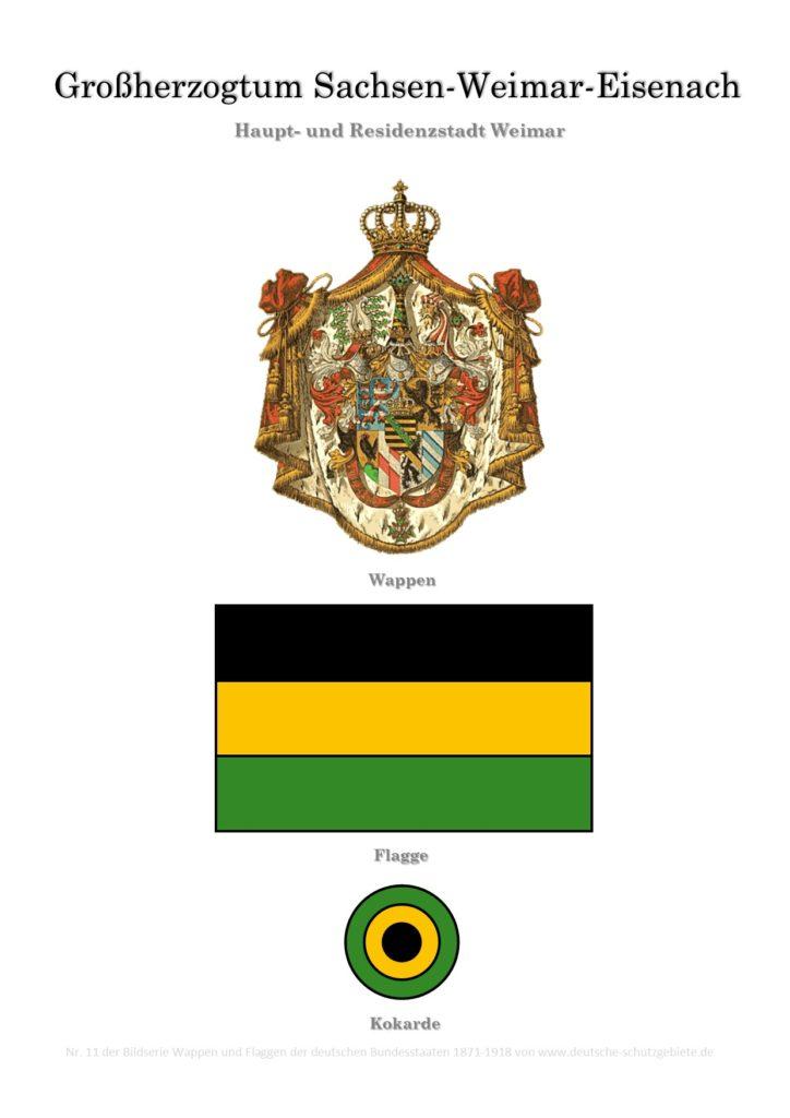 Großherzogtum Sachsen-Weimar-Eisenach, Wappen, Flagge und Kokarde
