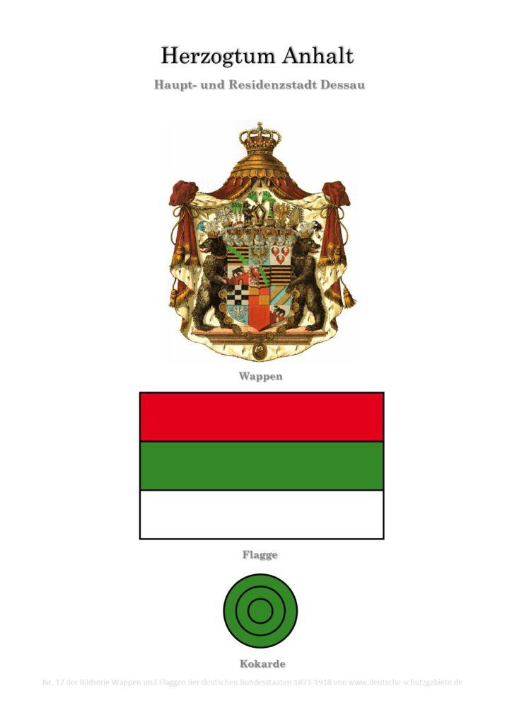Herzogtum Anhalt, Wappen, Flagge und Kokarde