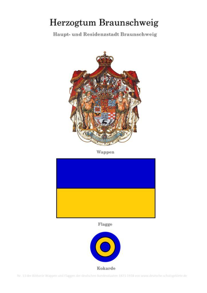 Herzogtum Braunschweig, Wappen, Flagge und Kokarde