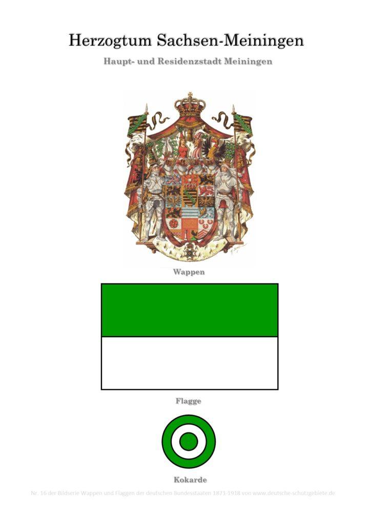 Herzogtum Sachsen-Meiningen, Wappen, Flagge und Kokarde