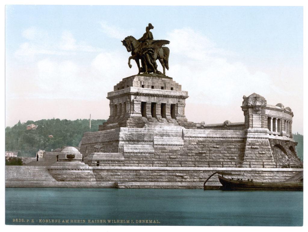 Koblenz am Rhein. Kaiser Wilhelm I. Denkmal (Photochrom Bild um 1900)