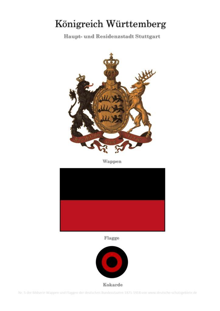 Königreich Württemberg, Wappen, Flagge und Kokarde