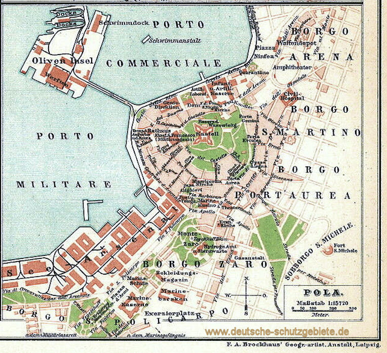 Pola, Stadtplan 1911