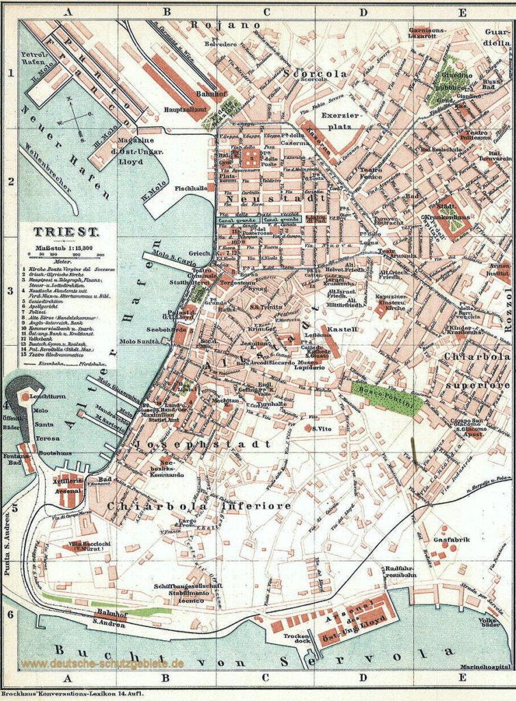 Triest, Stadtplan 1911