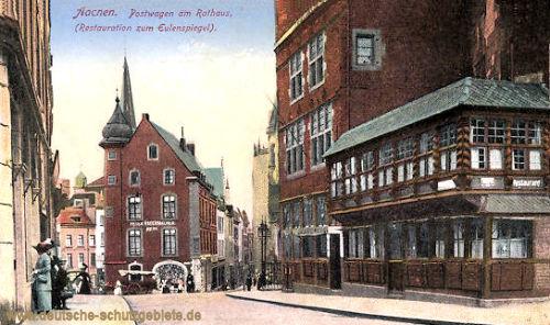 Aachen, Postwagen am Rathaus (Restauration zum Eulenspiegel)