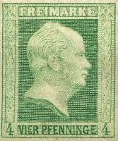 Briefmarke 4 Pfenninge Preußen 1856, König Friedrich Wilhelm IV.