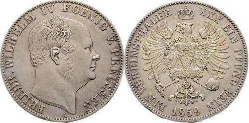 Friedrich Wilhelm IV. König von Preußen. Ein Vereinsthaler 1859