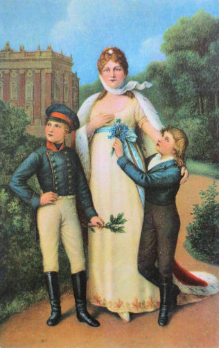 Königin Luise von Preußen mit ihren beiden ältesten Söhnen (1808), den späteren König Friedrich Wilhelm IV. und Kaiser Wilhelm I.