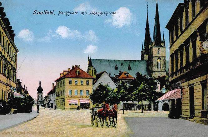 Saalfeld, Marktplatz mit Johanniskirche