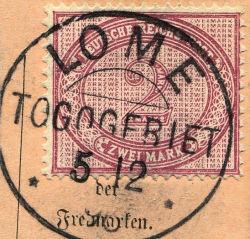 Stempel Lome Togogebiet, Togo Vorläufer 37, 2 Mark