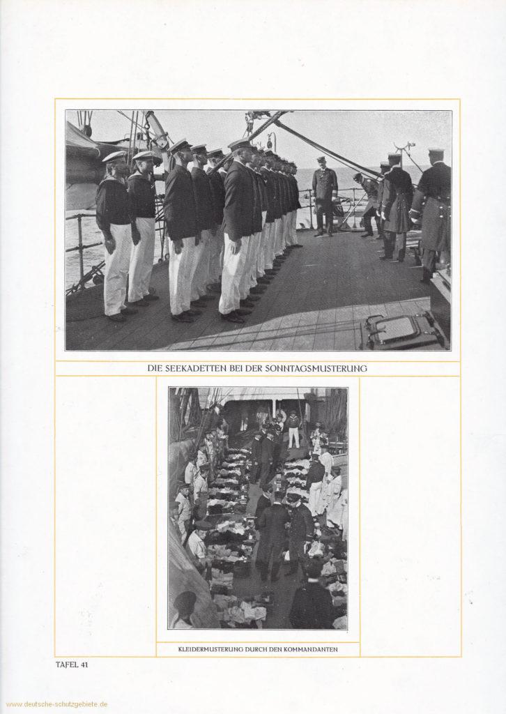 Die Seekadetten bei der Sonntagsmusterung – Kleidermusterung durch den Kommandanten