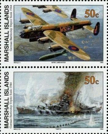 German Battleship Tirpitz Sunk 1944, Marshall Island 1994 50c