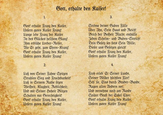 Kaiserhymne: Gott erhalte den Kaiser!