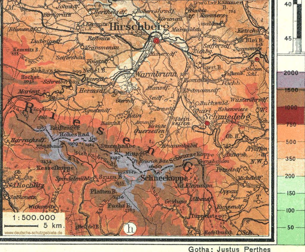 Riesengebirge, Landkarte aus Oberstufen-Atlas Justus Perthes, Gotha 1914