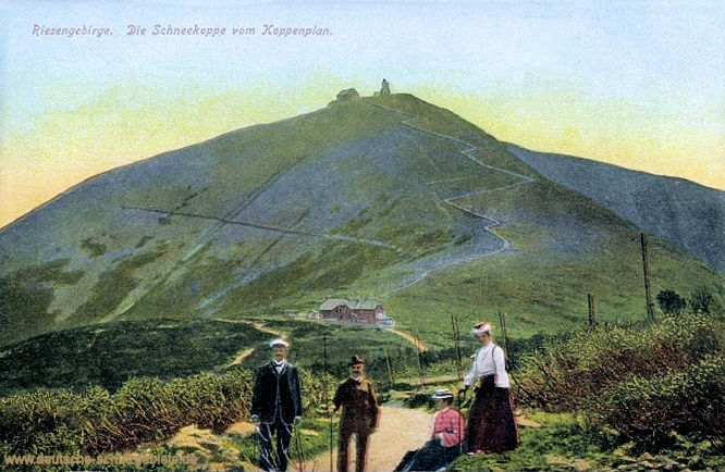 Riesengebirge. Die Schneekoppe vom Koppenplan