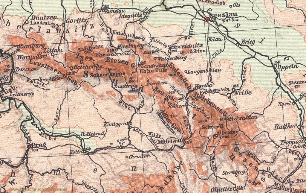 Sudeten, Landkarte aus Oberstufen-Atlas Justus Perthes, Gotha 1914