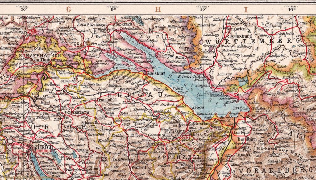 """Bodensee Anrainerstaaten (""""Andrees Allgemeiner Handatlas"""", Verlag von Velhagen & Klasing, Bielefeld und Leipzig 1914)"""